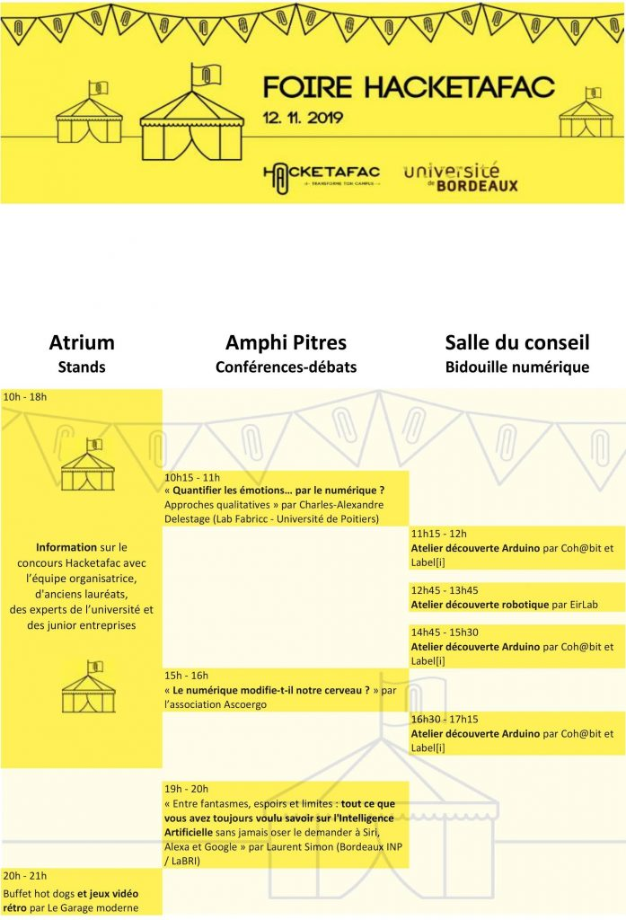 """10:00 - 18:00 Stands d'information avec l'équipe Hacketafac, d'anciens lauréats, des experts de l'université et des junior entreprises 10:15 - 11:00 Conférence de Charles-Alexandre Delestage (Lab Fabricc - Université de Poitiers) : """"Quantifier les émotions… par le numérique ? Approches qualitatives"""", proposée et animée par MAPI 11:15 - 12:00 Atelier découverte Arduino par Coh@bit et Label[i] 12:45 - 13:45 Atelier découverte robotique par EirLab 14:45 - 15:30 Atelier découverte Arduino par Coh@bit et Label[i] 15:00 - 16:15 Conférence """"Le numérique modifie-t-il notre cerveau ?"""" par l'association Ascoergo 16:30 - 17:15 Atelier découverte Arduino par Coh@bit et Label[i] 19:00 - 20:00 Conférence de Pr. Laurent Simon sur l'intelligence artificielle 20:00 - 21:00 Stands de nourriture et jeux vidéo rétro par Le Garage moderne"""